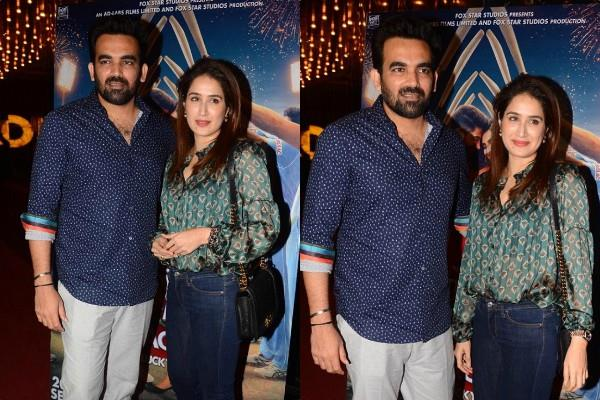 sagarika ghatge attend screening with cricketer husband zaheer khan