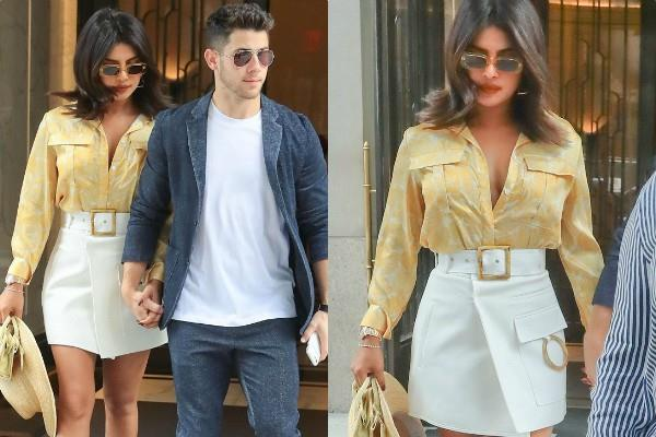 priyanka chopra spotted outside the new york apartment with husband nick jonas