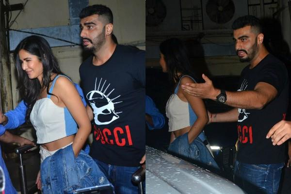 arjun kapoor protect katrina kaif as they get mobbed post movie screening