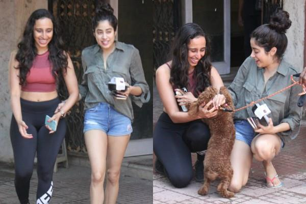 janhvi kapoor play with dog outside the pilates class