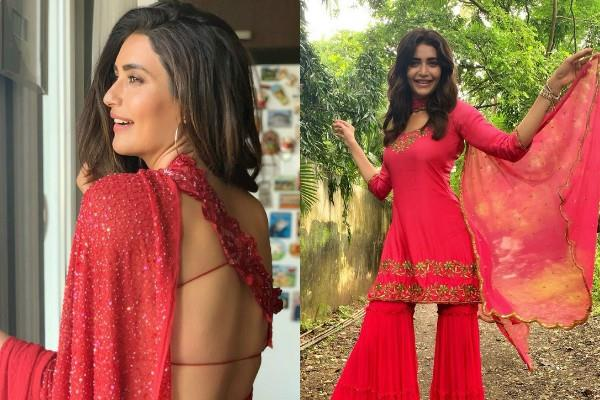 karishma tanna looks beautiful in red outfit