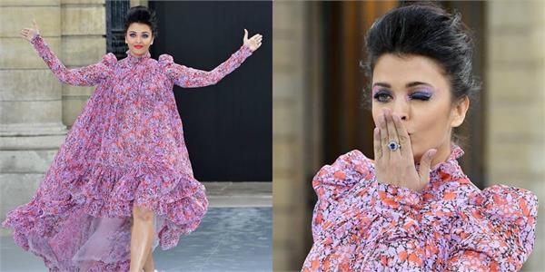 aishwarya rai bachchan look beautiful in floral dress at paris fashion week