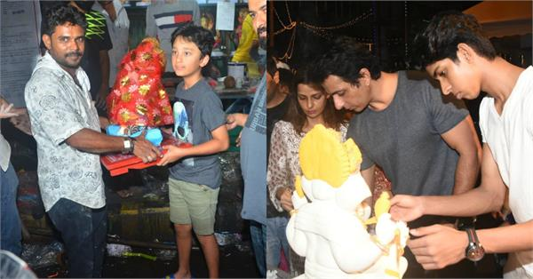 sanjay dutt son shahraan and sonu sood welcomes ganpati bappa at their home