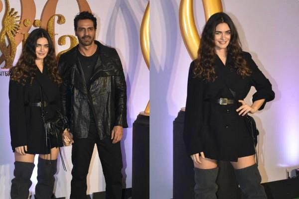 arjun rampal on the green carpet with girlfriend gabriella demetriades