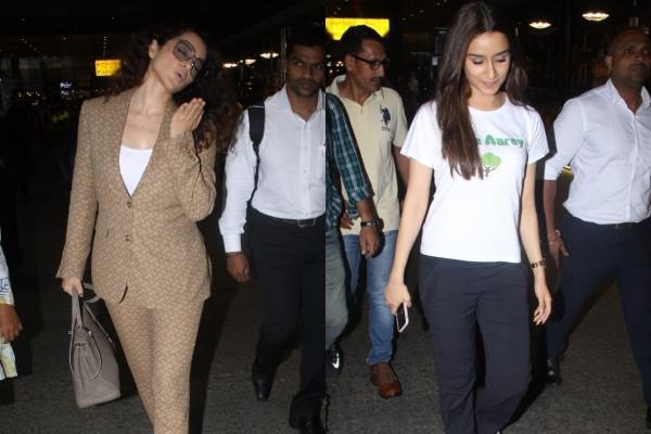 kangana ranaut shraddha kapoor spotted at mumbai airport