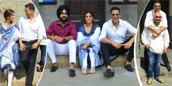 akshay kumar shooting pics with nupur sanon ammy virk and b praak