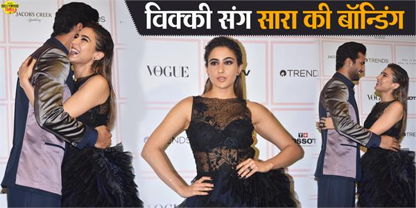 sara ali khan bonds with vicky kaushal at vogue beauty awards 2019