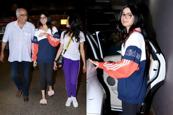 boney kapoor spotted at mumbai airport with khushi and janhvi kapoor