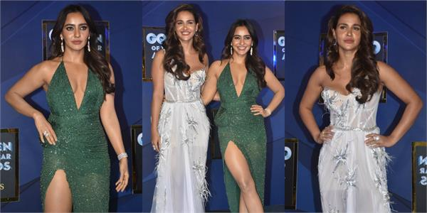 neha sharma at gq men of the year awards with sister aisha sharma