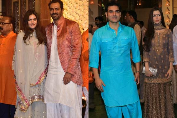 arbaaz and arjun rampal arrived with girlfriends in ambani s ganesh festival
