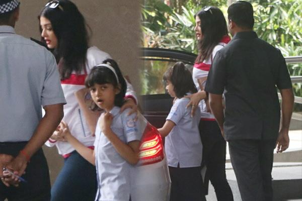 aishwarya rai bachchan and aaradhya bachchan spoted at school