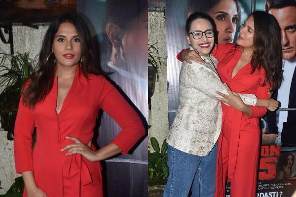 richa chadha swara bhaskar at section 375 screening
