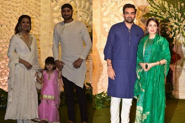 geeta basra harbhajan sagarika ghatge zaheer khan at ganpati celebration