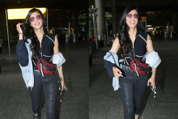 shruti haasan look classy at mumbai airport