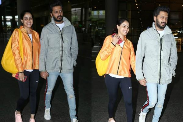genelia d souza spotted at mumbai airport with hubby riteish deshmukh