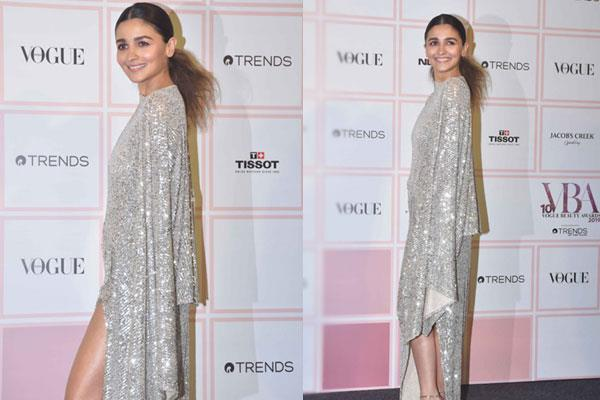 alia bhatt seen in silver gown at the vogue beauty awards