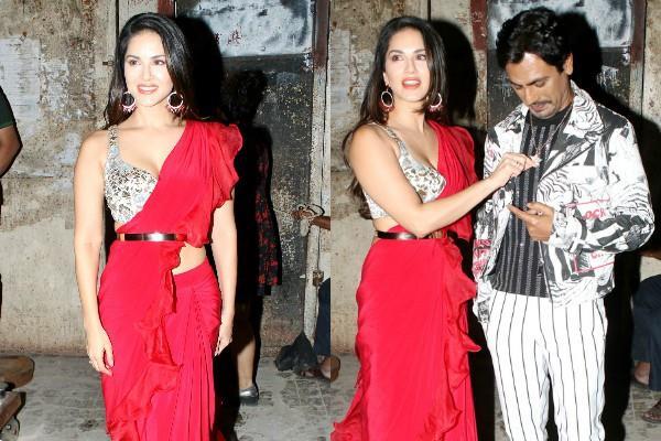 sunny leone look beautiful in red saree poses with nawazuddin siddiqui