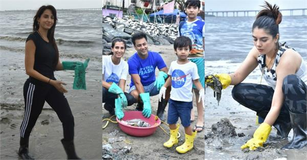 abhishek nora and other stars cleaning the mumbai beach pictures goes viral