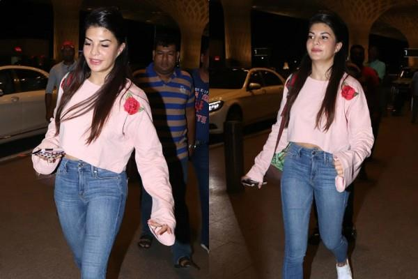 jacqueline fernandez casual look at airport