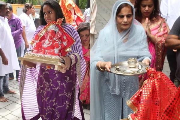 salman khan sister arpita khan sharma and mom salma welcomes ganpati bappa