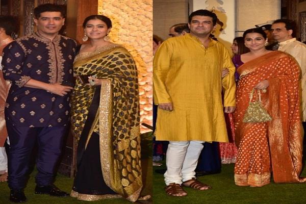kajol and vidya show their traditional looks at ambani s event