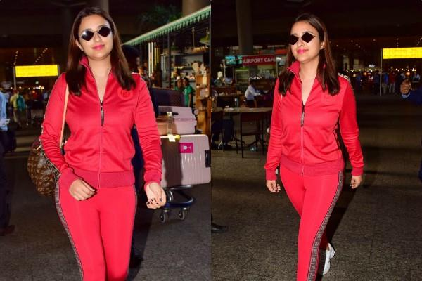parineeti chopra look cool in track suit at mumbai airport