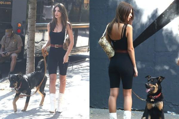 emily ratajkowski look stunning in cropped spandex jumpsuit