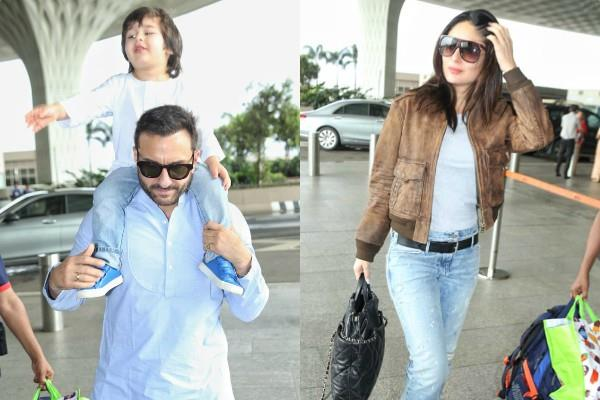 kareena kapoor khan saif ali khan leave for pataudi with taimur ali khan