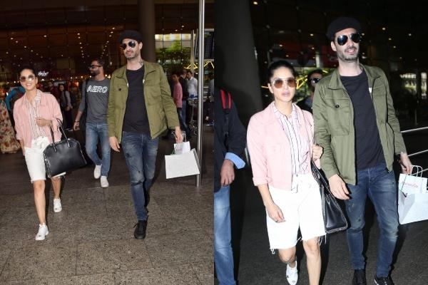 sunny leone looks gorgeous as she spotted at airport with hubby daniel weber