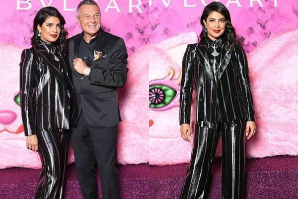 priyanka chopra stylish look in black pant suit