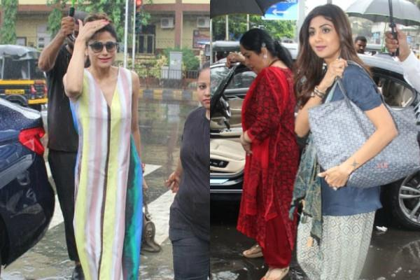 shilpa shetty spotted with shamita shetty and mom sunanda shetty