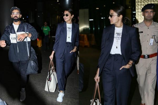anushka sharma virat kohli make stylish entry at airport