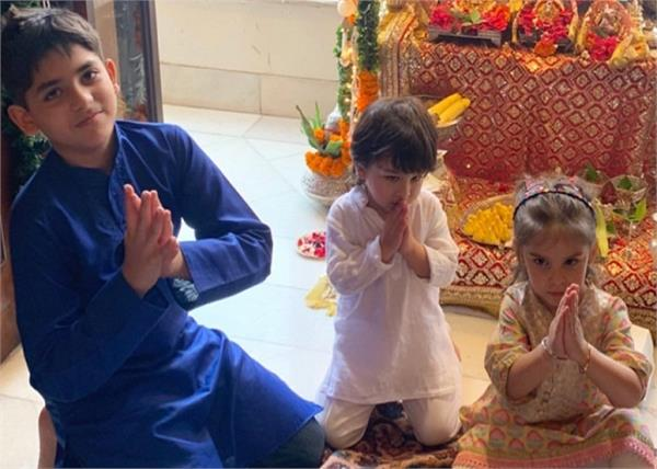 taimur ali khan chants mangal murti morya at kapoor family ganesh celebration