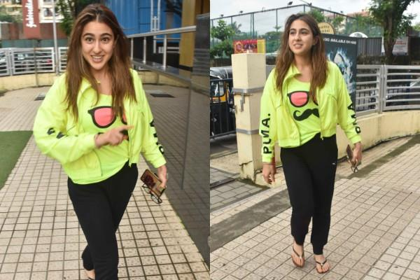sara ali khan cool look neon green jacket