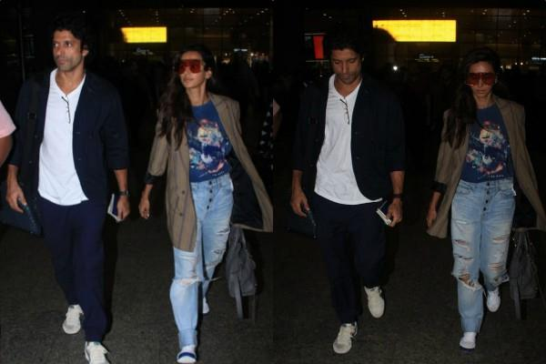 farhan akhtar spotted at airport with girlfriend shibani dandekar