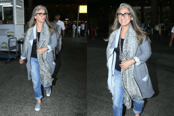dimple kapadia spotted at airport
