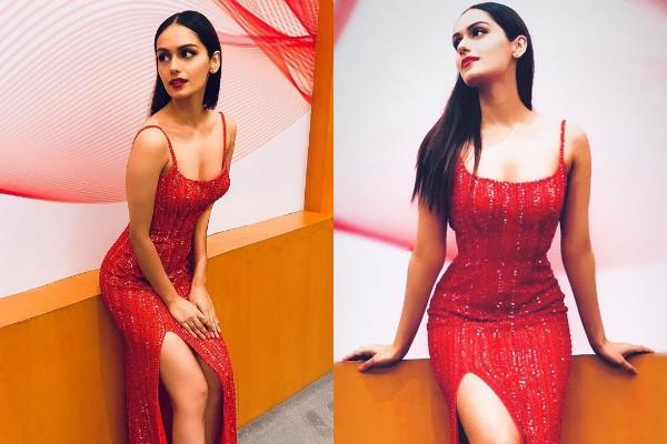 manushi chillar looks stunning in thigh high slit red dress