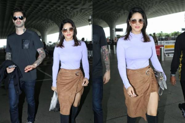 sunny leone spotted at airport with hubby daniel weber