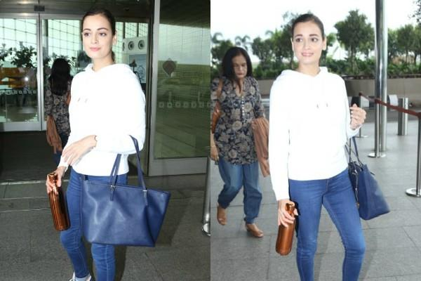 dia mirza simple look at mumbai airport