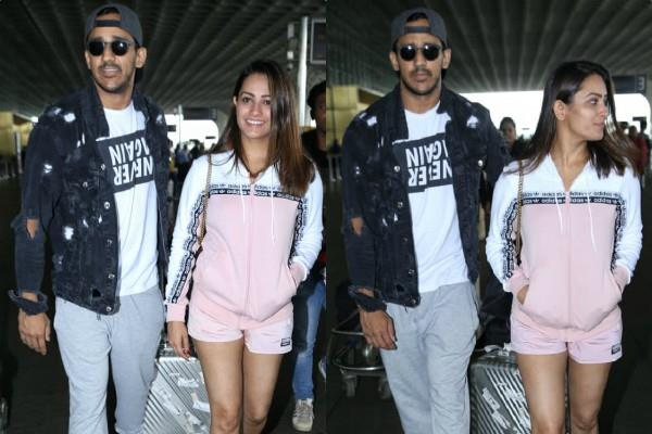 anita hassanandani rohit reddy make stylish entry at airport