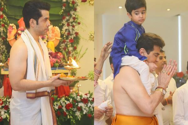 tusshar kapoor ekta kapoor jeetendra ganesh utsav celebration with family