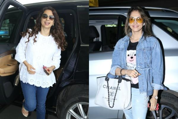 juhi chawla and isha koppikar latest airport look