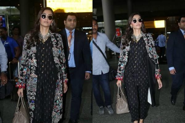 sonam kapoor stylish look at mumbai airport