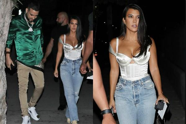 kourtney kardashian spotted with sister khloe ex french montana