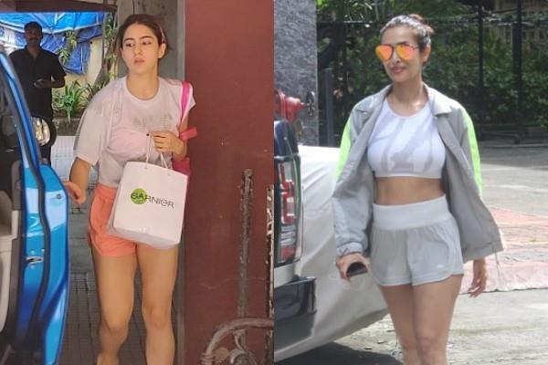 malaika arora and sara ali khan spotted outside gym