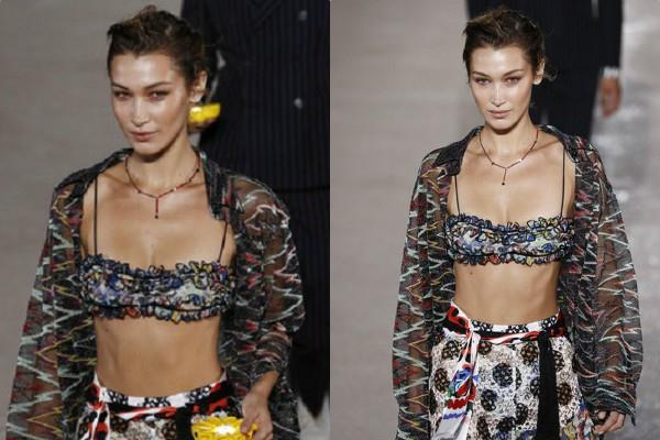bella hadid displayed her washboard abs in a tiny crop top