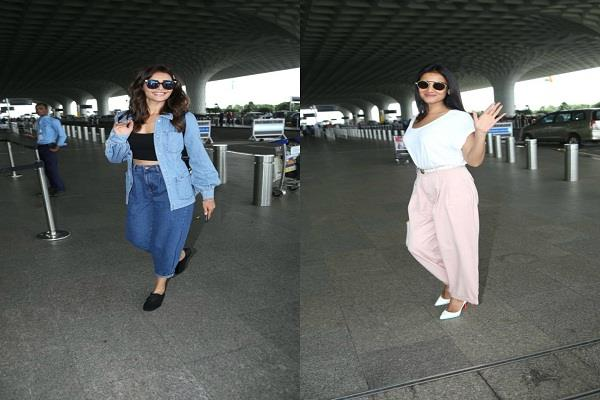 karishma tanna spotted at the airport with denim look