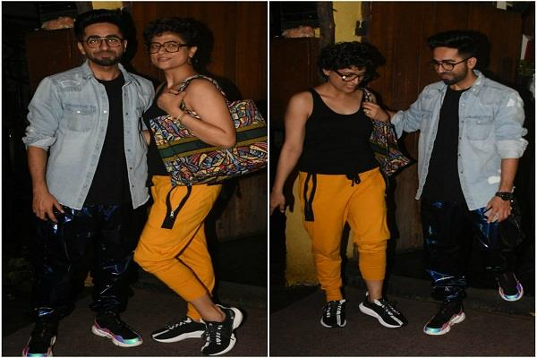 ayushman khurana spotted outside the theater with wife