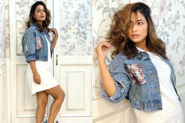 hina khan latest photoshoot pictures in denim jacket