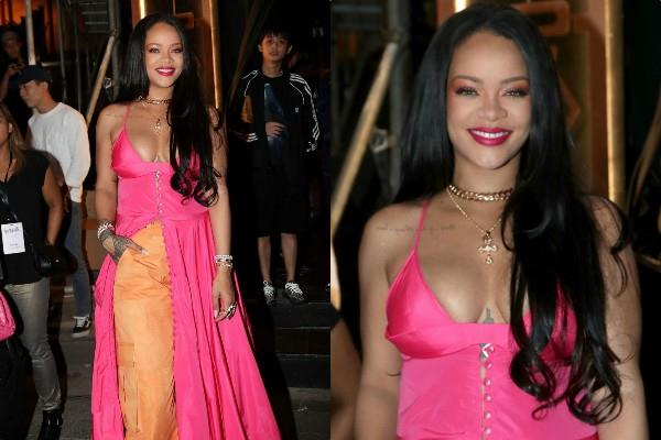 rihanna nearly looks stunning in pink maxi dress